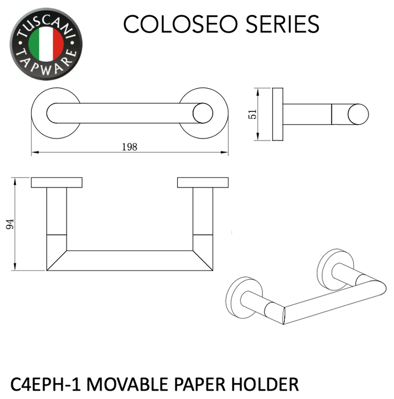 C4EPH-1 - COLOSEO Series Paper Holder - Bathroom Accessories