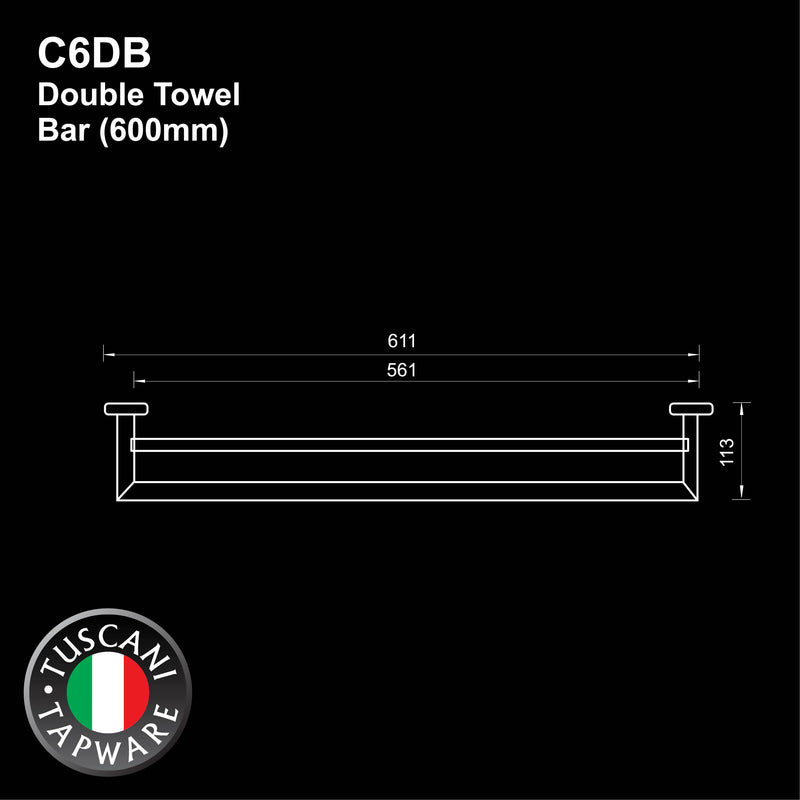C6DB - COLOSEO Series Double Towel Bar- Bathroom Accessories