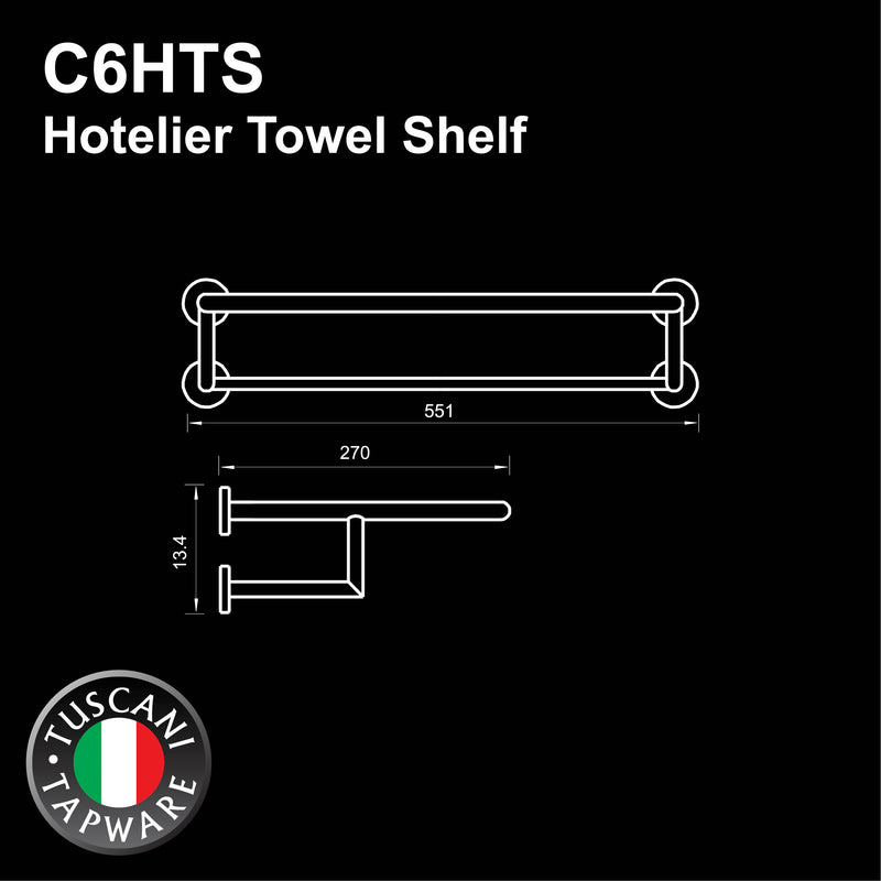 C6HTS - COLOSEO Series Towel Shelf - Bathroom Accessories