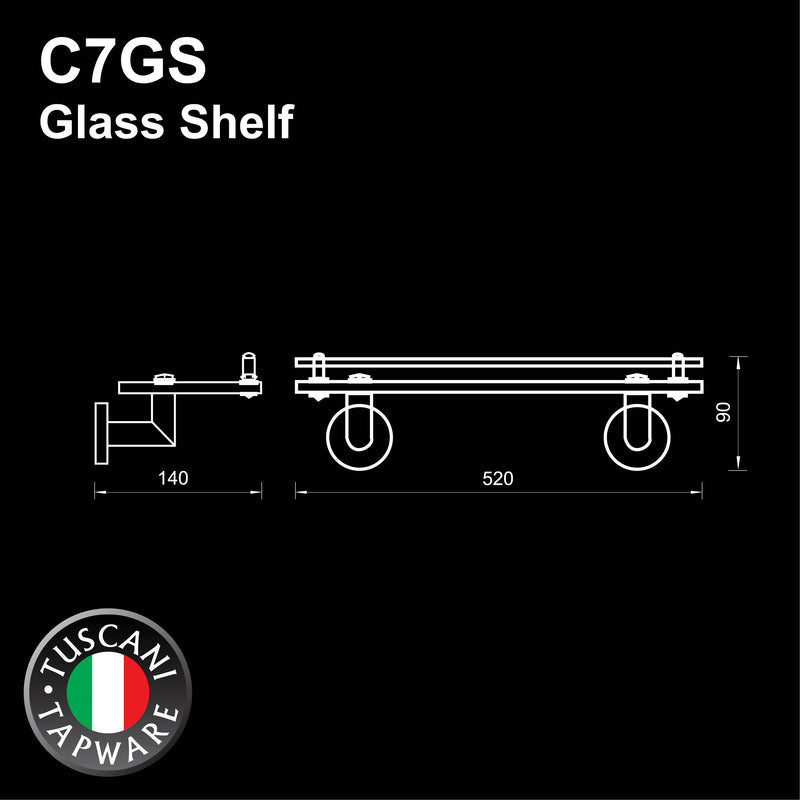 C7GS - COLOSEO Series Glass Shelf - Bathroom Accessories