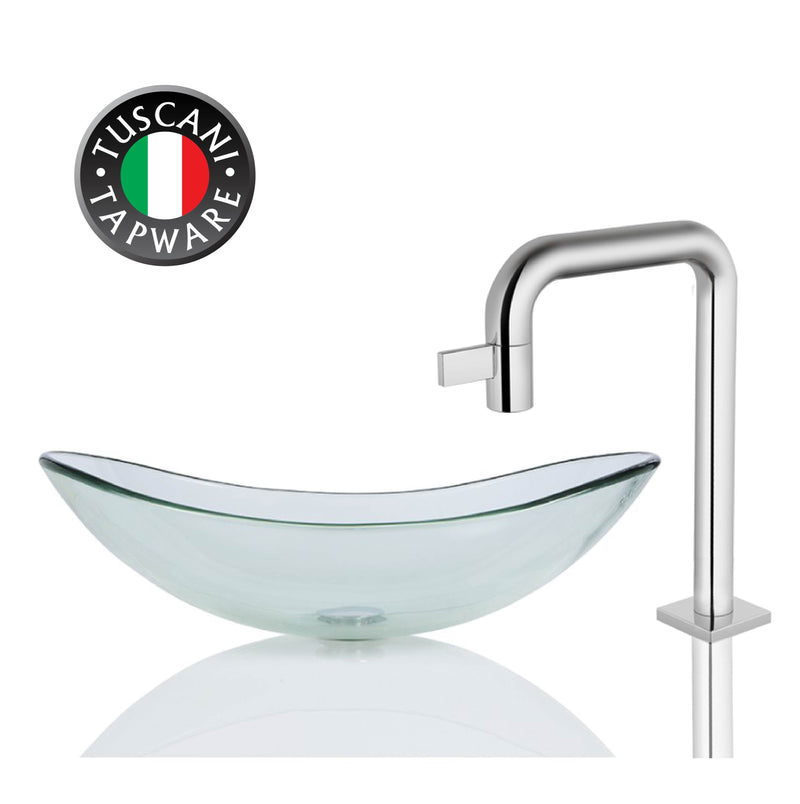 H135C - Clear Oval Deck Mounted Glass Basin