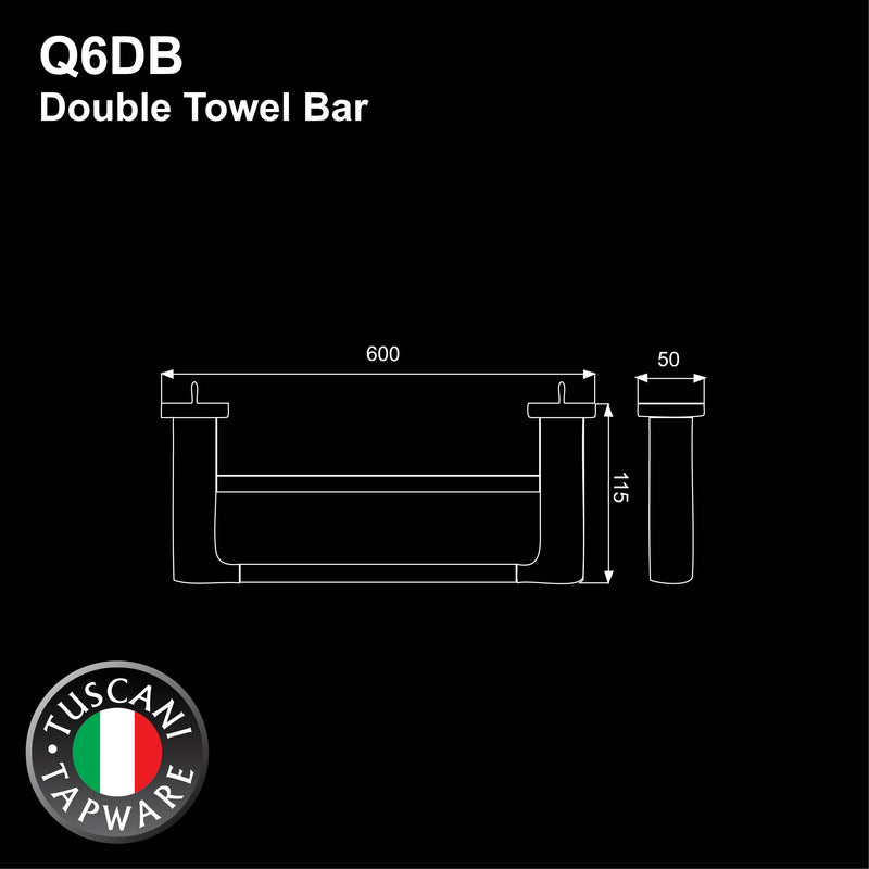 Q6DB - QUATRIO Series Double Towel Bar - Bathroom Accessories