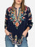 Women's Loose Casual Embroidered Long-Sleeved Blouse