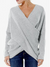Cross Wrap Solid Color Irregular Long Sleeve Sweater