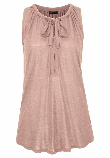 TIE FRONT SLEEVELESS TOP