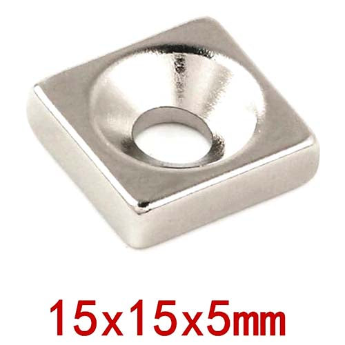 Neodymium Square Block Magnet 15x15x5mm with 5mm Hole