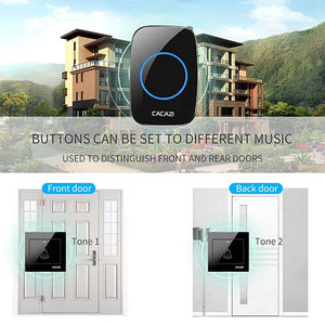 CACAZI Wireless Doorbell 2 Wall Push Buttons & 1 Plug-in Receiver