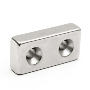 Neodymium Block Magnet 40x20x10mm with 2x Countersunk Holes
