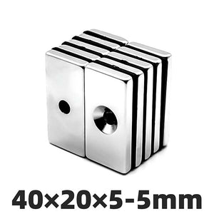 Neodymium Block Magnet 40x20x10mm with 1x Countersunk Hole