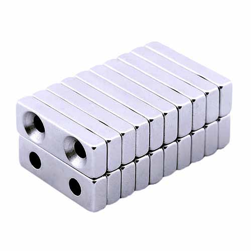 Neodymium Block Hole Magnet 30mm x 10mm x 5mm with 2 Holes