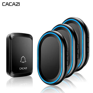 CACAZI 1 Push Buttons & 3 Receivers Wireless Doorbell