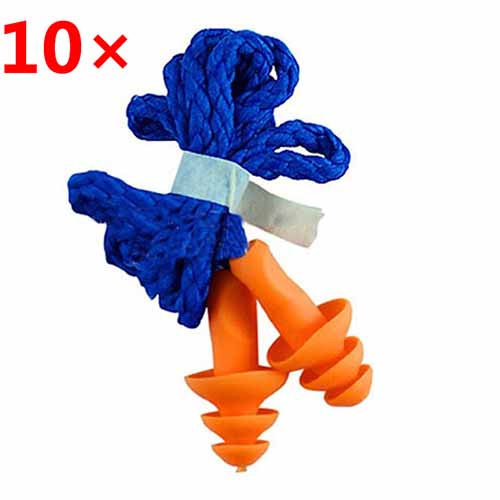 Reusable Silicone Ear Plugs with Cord for Ears Protection 10Pcs