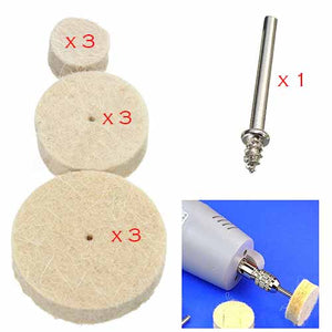 Wool Polishing Wheels 10Pcs Kit with Shank for Rotary Tool