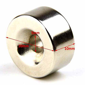 Neodymium Magnet 20mm x 10mm Round Disk with 5mm Hole