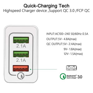 QC3.0 3 Port USB Charger with a Quick Charging Port