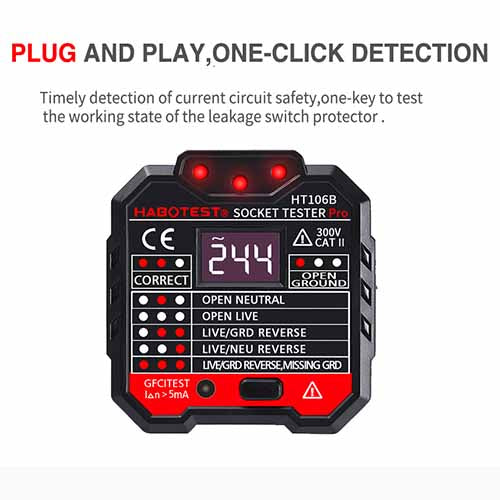 Professional Socket Tester RCD, Voltage tester + LCD Display