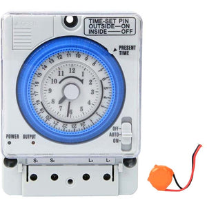 Mechanical Timer 24Hr Time Switch Switch with Battery Backup