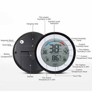 Multi-functional Digital Thermometer Hygrometer with Touch Screen