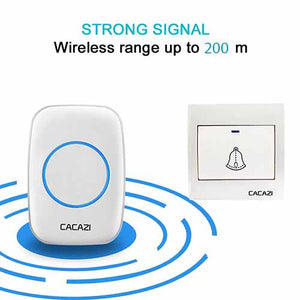 CACAZI Remote Doorbell with Wall Push Button
