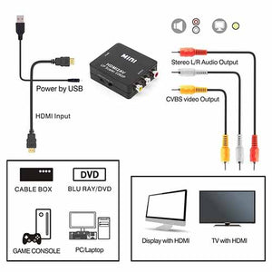 HDMI to RCA AV Converter with 3.5mm Audio Cable VGA2AV