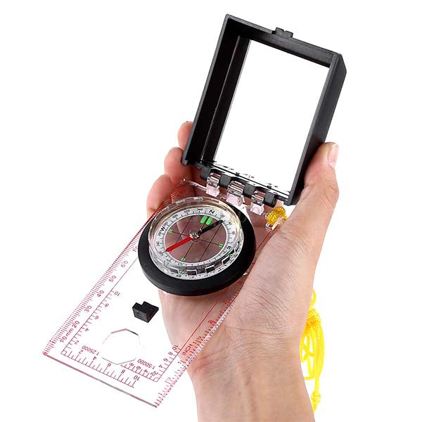 Outdoor Survival Hiking Compass Tool with Mirror - Type 01