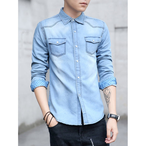 Men Roll-Up Sleeve Curved Hem Solid Shirt