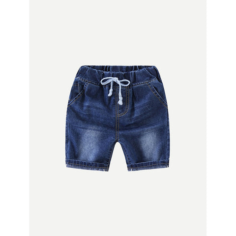 Kids Roll Hem Drawstring Denim Shorts