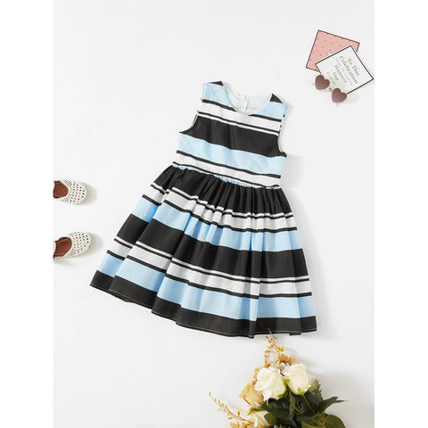 Sleeveless Pleated Striped Dress