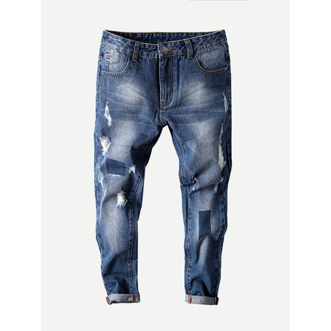 Men Rolled Hem Old Destroyed Jeans