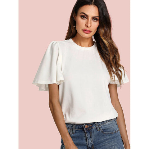 Flutter Sleeve Zip Back Top