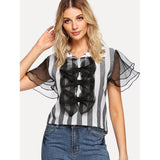 Bow Detail Sheer Mesh Sleeve Striped Blouse