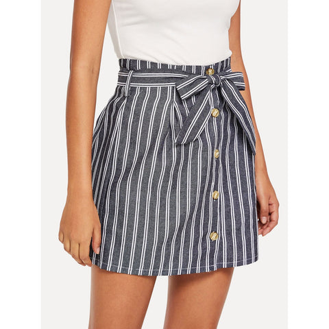Single Breasted Front Striped Skirt