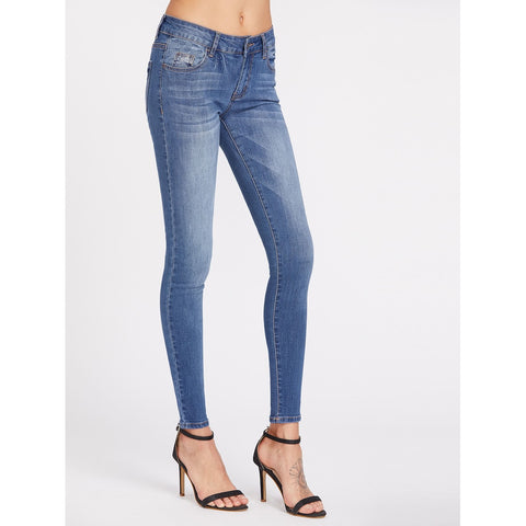 Low Rise Bleach Wash Skinny Jeans