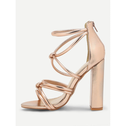 Strappy Design Back Zipper Heeled Sandals