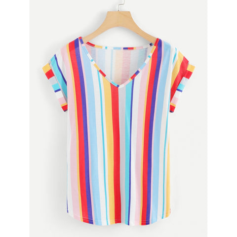 Roll Up Sleeve Striped T-shirt