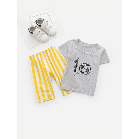 Kids Football Print Tee With Striped Pants