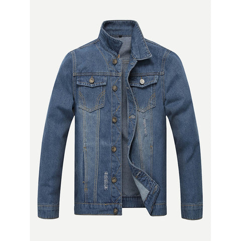 Men Ripped Solid Denim Jacket