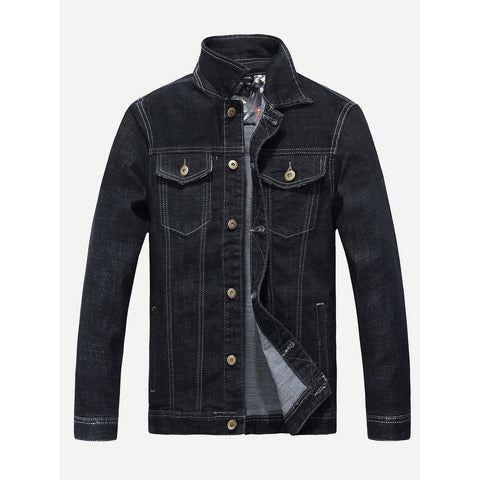 Men Solid Denim Jacket