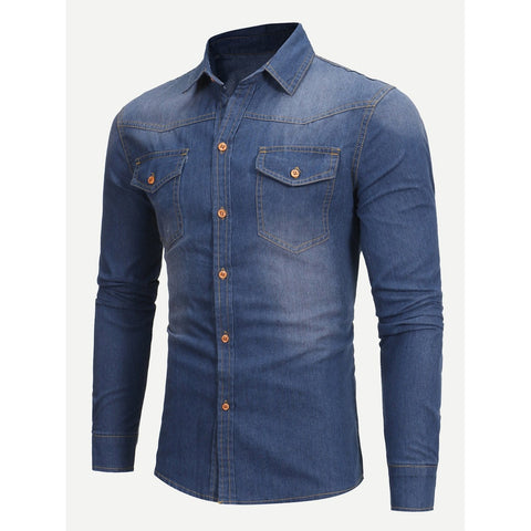 Men Wish Plain Denim Shirt