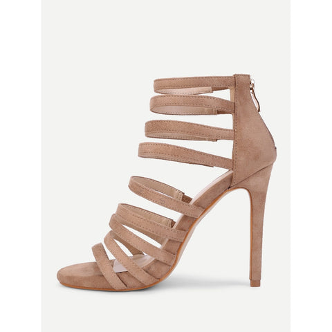Strappy Zipper Back Heeled Sandals