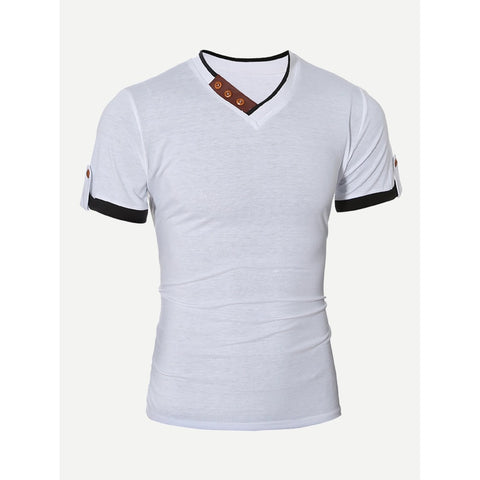 Men Button Detail Roll-up Sleeve Solid T-shirt