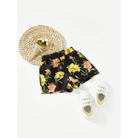 Pocket Side Flower Print Shorts