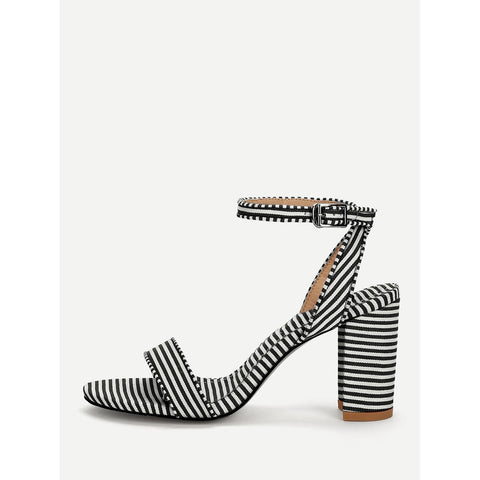 Striped Design Two Part Block Heeled Sandals