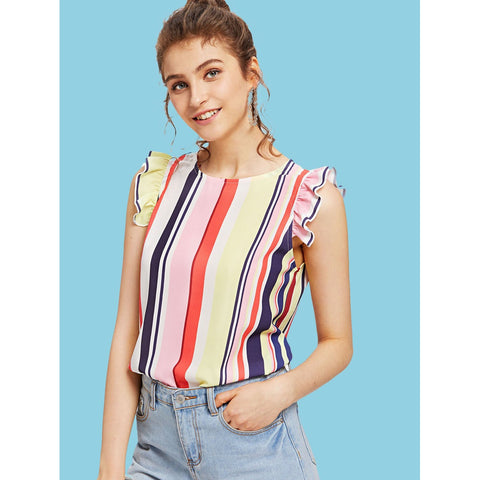Vertical Striped Ruffle Sleeve Top