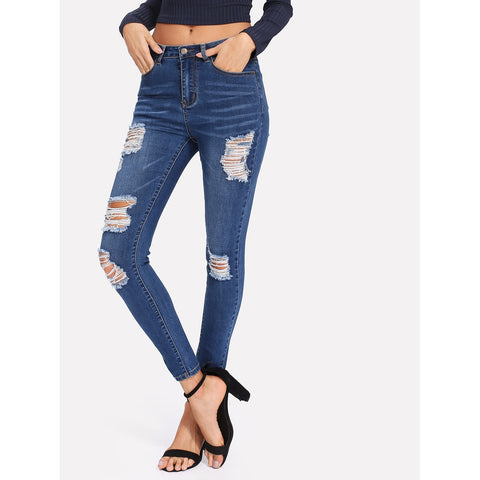 Bleach Wash Shredded Skinny Jeans