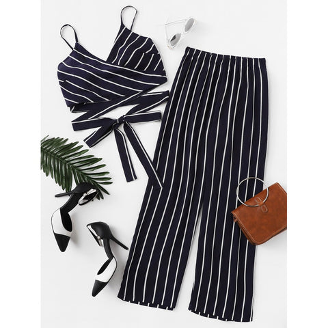 Striped Knot Hem Cami Top With Pants