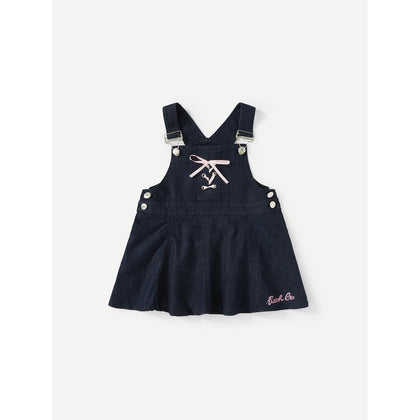 Lace Up Denim Overall Dress