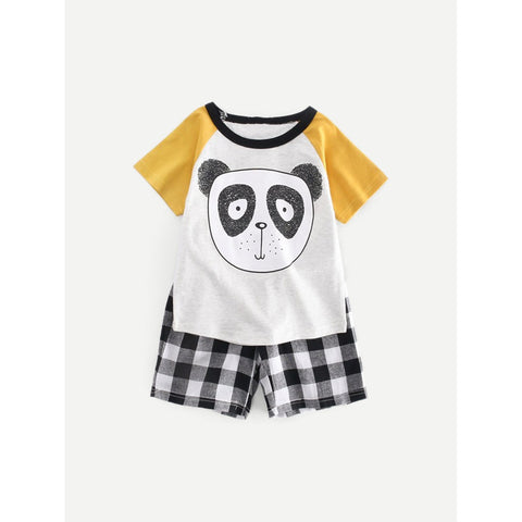 Kids Contrast Panel Panda Print Tee With Gingham Shorts