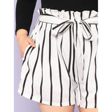 Vertical-Stripe Frill Belted Shorts