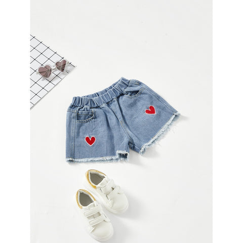 Heart Embroidery Raw Hem Denim Shorts